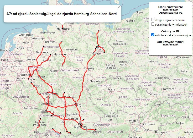 map of German holiday restrictions